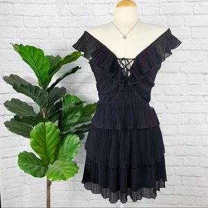 EXPRESS flutter tiered pleated lace up dress